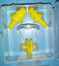 SWIMMING EAR PLUGS AND NOSE CLIP -  Yellow - in protective box.