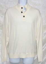 Tommy Hilfiger Mens Sweater Mock Neck Half Button Solid White size XXL NEW