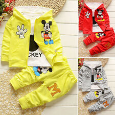 3pcs Kids Baby Boys Girls Outfits Set Mickey Mouse Coat+T shirt+Pants Clothin~