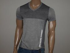 Armani Exchange Authentic Reflective  Logo Jumper V Neck T Shirt Gray NWT