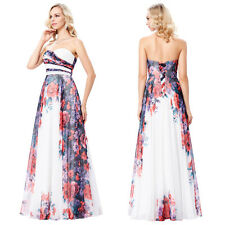 Strapless Floral Pattern Chiffon Bridemaid  Ball Gown Evening Prom Party Dress