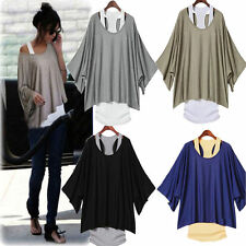 4 Colors Stylish Womens Casual Loose Tops Batwing Blouse T-shirt +Tank Vest 2PCS