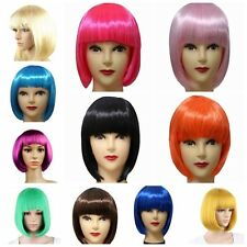 Colorful Short Wig Fashion Women Full Bangs Straight BOB Wig Hair Cosplay Party