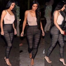 New Ladies Celeb Stretch Ruched Nude Mesh Leggings Pants Trousers Skinny Tight