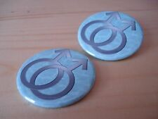 2 x MALE (MARS) GAY PRIDE - LGBT  - 38MM HIGH QUALITY  BUTTON BADGE or MAGNET