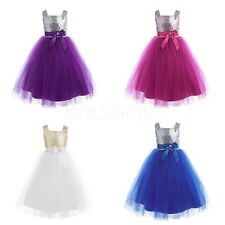 Flower Girl Dress Sequin Party Wedding Princess Tulle Pageant Kids Baby f. 12M-8