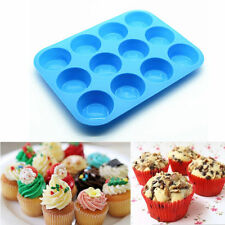 12 Silicone Nonstick Cups Mold Muffin Pan Cupcake Tray Cake Baking Candy Mold