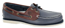 Timberland 2-Eye Leather Lace Up Boat Shoe Mens Navy Blue Brown A16MJ U73