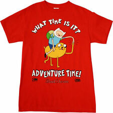 Adventure Time with Finn and Jake RED Tee Shirt  XL Fist Bump What Time is It?
