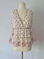 New MIU MIU Prada Red Floral Embroider White Cotton Peasant Top Sz 42 NWT $550