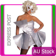 Licensed Lady Gaga Costume Ladies 80s Fancy Dress Up Pop Rock Star Silver 1980s
