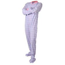 Baby Blue and Pink Flannel Adult Footed Pajamas Footie Drop Seat Womens PJs