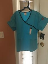 Dickies EDS Mock Wrap Top 815206 Icy Turquoise SIZE MEDIUM FREE SHIP!