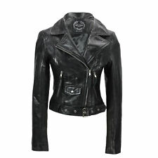 Ladies Womens Soft Real Leather Black Biker Jacket Vintage Classic Brando Style