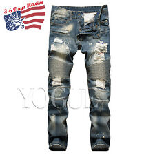 Mens Frayed Biker Jeans Ripped Distressed Bleached Pants Slim Fit Denim Trousers