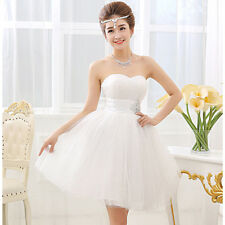 White Evening Prom Party Dress Bridal Wedding Bridesmaid Dresses Ball Gown Short