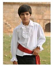 Child Pirate Captain Renaissance Victorian Ruffled Costume Shirt White Boys S-XL