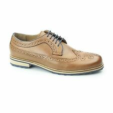 Silver Street London CANNON Mens Leather Casual Smart Longwing Derby Brogues Tan
