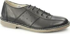 Ikon MARRIOTT Mens Casual Laced Genuine Leather Classic MOD Bowling Shoes Black