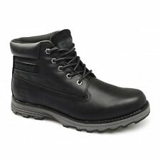 Caterpillar CAT FOUNDER Mens Leather Padded Wide Lace-Up Work Ankle Boots Black