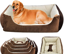 PET LUXURY WASHABLE LARGE DOG PUPPY CAT SOFT BED SOFA CUSHION MAT WARM BROWN