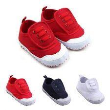 Infant Baby Boy Girl Canvas Crib Shoes Newborn Kid Soft Sole Lace-up Prewalker