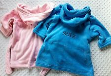 Personalised Embroidered Baby Dressing Grown Bath Robe Front & Back Pink Or Blue