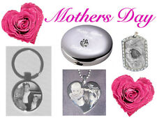 Personalised gift Engraved free photo keyring necklace compactmirror mothers day