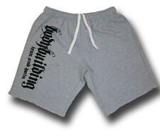 MENS GREY BODYBUILDING SHORTS FITNESS ATHLETIC WORKOUT GYM CLOTHING