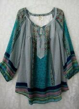 New Fig & Flower Floral Teal Lace Peasant Blouse Boho Tunic Top Size~8/10/M