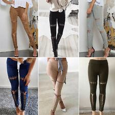 Women Bodycon Ripped Pants High Waist Stretch Legging Slim Pencil Jeans Trousers