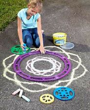 Sidewalk Chalk Design Kit Outdoor Driveway Craft Art Wheels Spirals Spirograph
