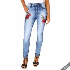 Womens Vintage Embroidered Stretch Slim Fitted Faded Denim Skinny Jeans Jeggings