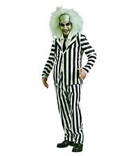 Mens Beetlejuice Costume Striped Suit Black White Scary Tim Burton Adult Std, XL