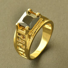 Authentic 9K Yellow Gold Filled Black Onyx Mens Ring,Size 10,Z5528