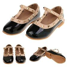 Kids Girls Flat School Shoes PU Leather Mary Jane T-Bar Dress Ballet Shoes Black