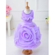 Rose Pearl Flower Girl Dress Princess Lovely Baby Birthday Party Wedding Dress