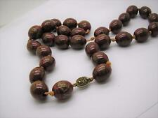 """Antique Chinese Red Lacquer Gold Decorated Beads Silver Gilt Clasp 30"""""""