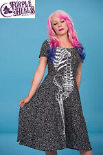 Iron Fist Death Breath Skull Black Skeletal Dress M/UK10