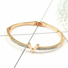 Women Charm Gold/Silver Plated Crystal Rhinestone Bracelet Bangle Cuff Jewelry