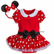 Disney Store Minnie Mouse Baby Costume & Ears Headband 3 6 9 12 18 Months NWT