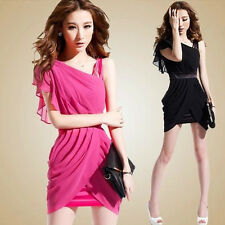 Womens Fashion Oblique Shoulder Sexy Dinner Party Cocktail Ball Evening Dress