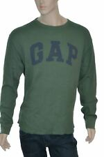 GAP Men's Casual Long Sleeve Crew Neck Thermal Shirt Jungle Green New w/tags