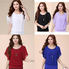 NEW Summer Fashion Casual Women's Short Slim Bat Sleeve Bat Chiffon T-Shirt Tops
