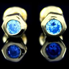 Sterling Silver Small Tiny Baby Blue Cz Earrings Girl Infants Safety Stud