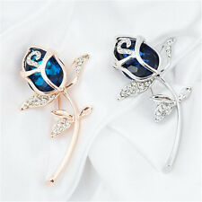 Crystal Rose Flower Brooches jewelry Clothing Alloy Brooch Rhinestone Gift 1Pcs