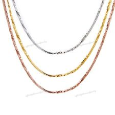 "18KT Gold OVER DIAMOND CUT SNAKE CHAIN DESIGN UNISEX 1.5 MM 19"" CHAIN NECKLACE"