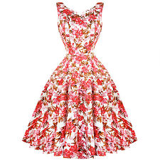 Hearts & Roses London Pink Floral Lilly 1950s Vintage Retro Flared Summer Dress