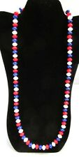 Crown Trifari Patriotic Bead Necklace Red White Blue