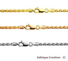 14k Gold Over 925 Sterling Silver Italian ROPE CHAIN Diamond Cut necklace 1.75mm